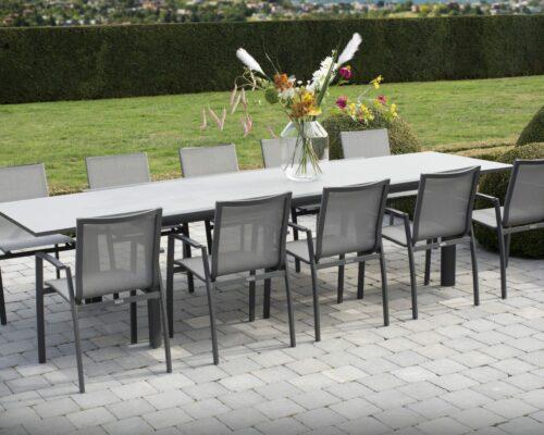 Torino _ Premier extending table Matt Carbon dining set _01